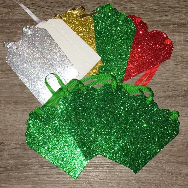 set of 10 Paperchase Silver glitter gift tag